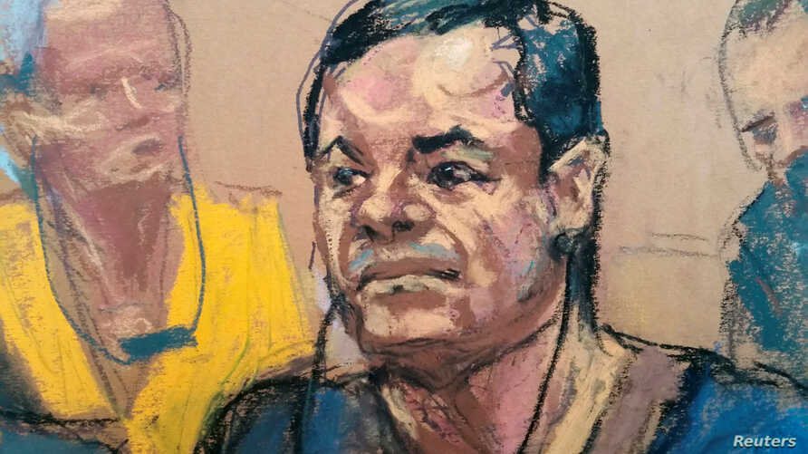 """Joaquin """"El Chapo"""" Guzman, is shown in a sketch of his court appearance at the Brooklyn Federal Courthouse in the Brooklyn borough of New York City, New York, May 5, 2017."""