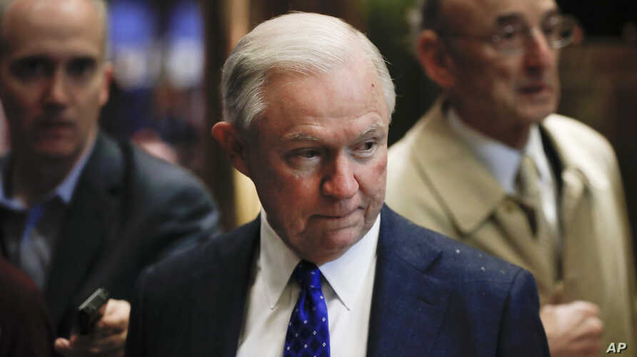 Senate Armed Services Committee member Sen. Jeff Sessions, R-Ala., arrives at Trump Tower, Nov. 15, 2016 in New York.