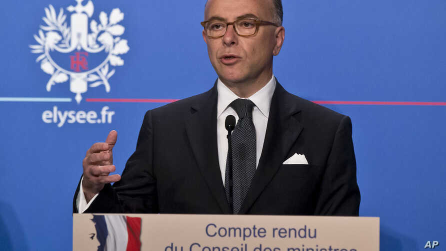France's Interior Minister Bernard Cazeneuve, speaks to the media during a media conference at the Elysee Palace in Paris, June 17, 2015.
