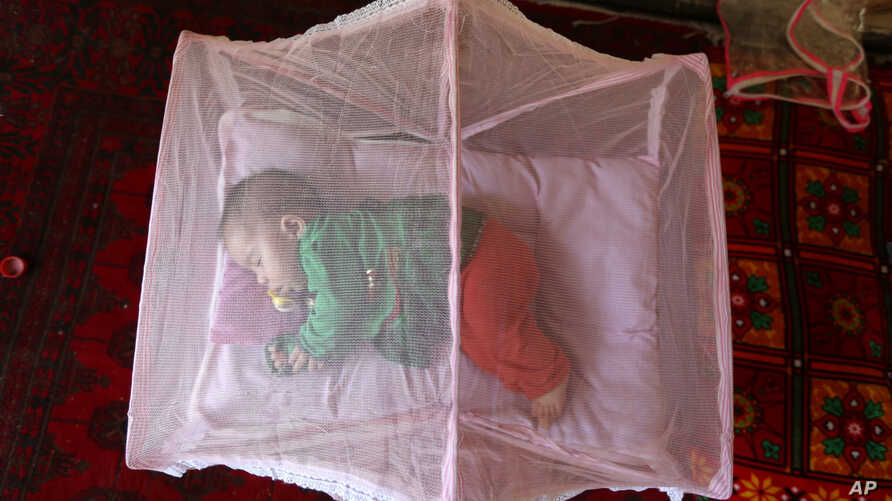 An Afghan girl sleeps beneath a mosquito net at her home in Kabul, Afghanistan, July 21, 2016.