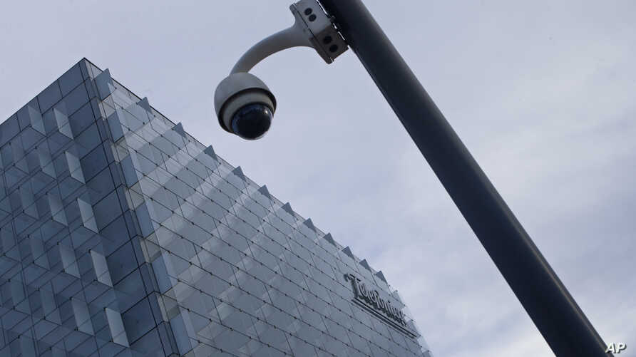 A security camera stands outside the main Telefonica headquarters in Madrid, Spain, May 12, 2017.