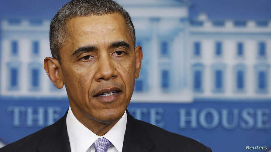 FILE - U.S. President Barack Obama delivers remarks in the press briefing room at the White House.