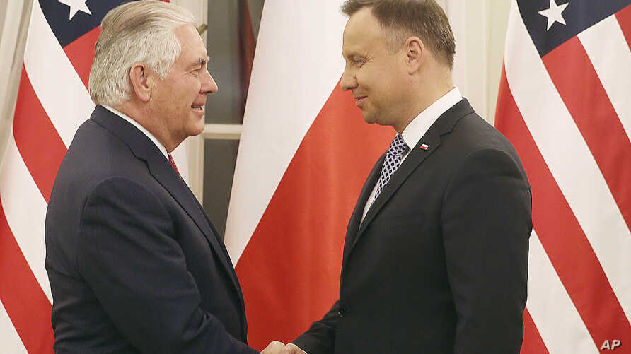 Rex Tillerson, U.S. Secretary of State, meets with Polish President Andrzej Duda, during a visit to Warsaw, Poland, Jan. 26, 2018.
