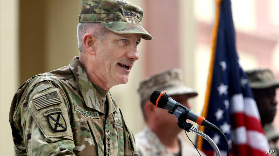 FILE - U.S. commander in Afghanistan, U.S. Army Gen. John W. Nicholson, speaks during a change of command ceremony at the Resolute Support Headquarters in Kabul, Afghanistan, March 2, 2016.