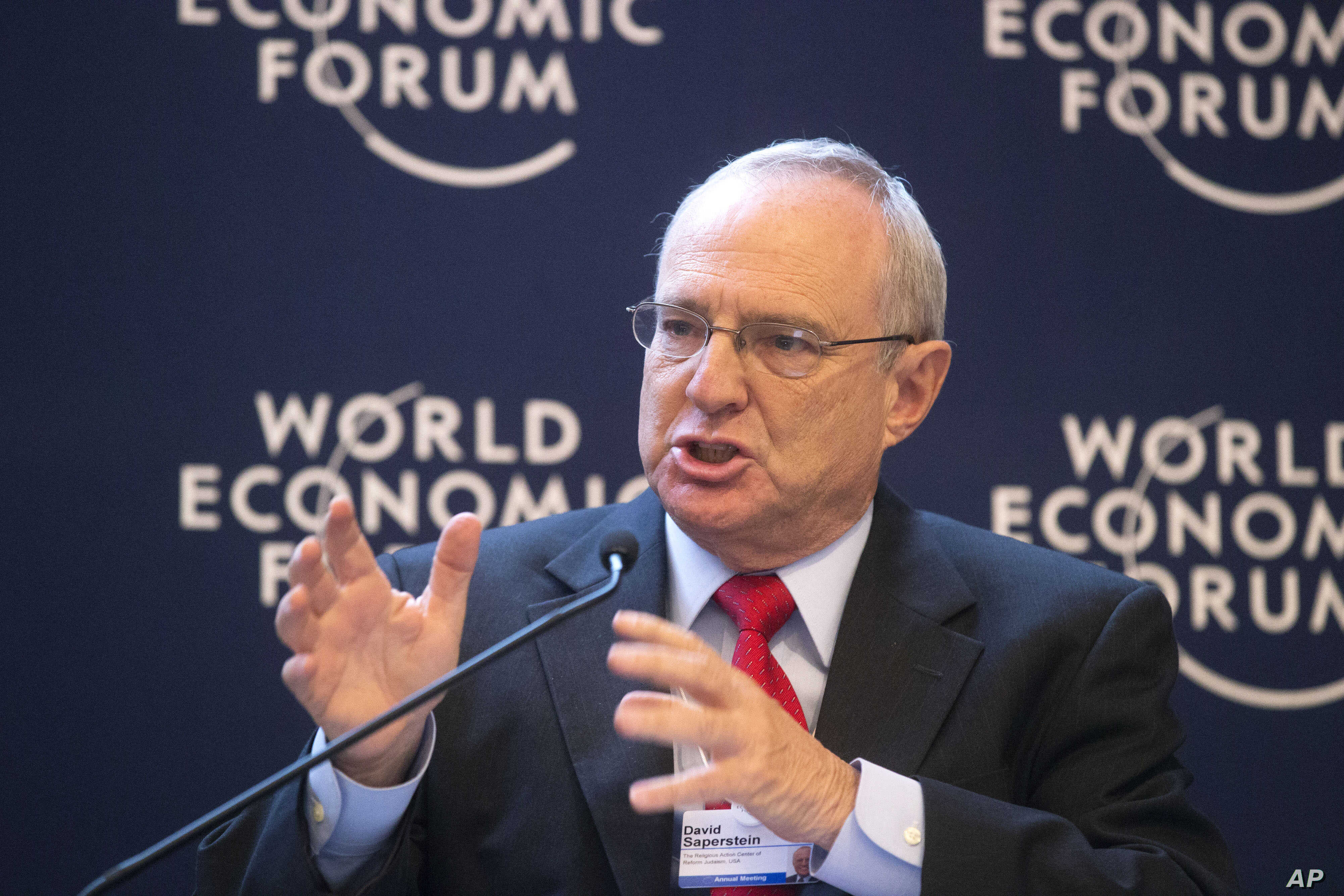 David Saperstein,  director of the Union for Reform Judaism's Religious Action Center gestures as he speaks during a debate on religion at the 43rd Annual Meeting of the World Economic Forum (WEF) in Davos, Switzerland, Jan. 25, 2013.