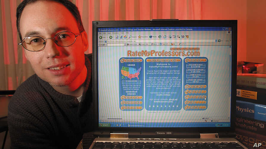 John Swapceinski, President and Founder of RateMyProfessors.com poses with his laptop in his Menlo Park, Calif., apartment in 2003.