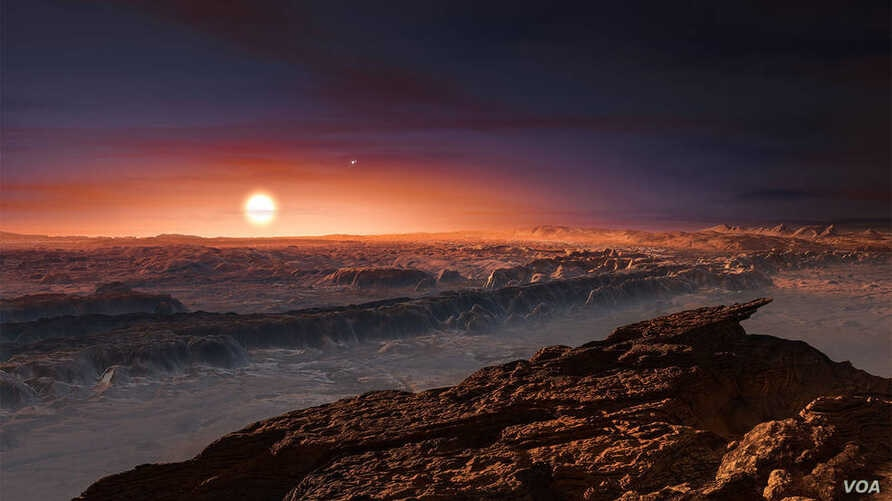 This artist's impression shows a view of the surface of the planet Proxima b orbiting the red dwarf star Proxima Centauri, the closest star to the solar system. The double star Alpha Centauri AB also appears in the image. Proxima b is a little more m