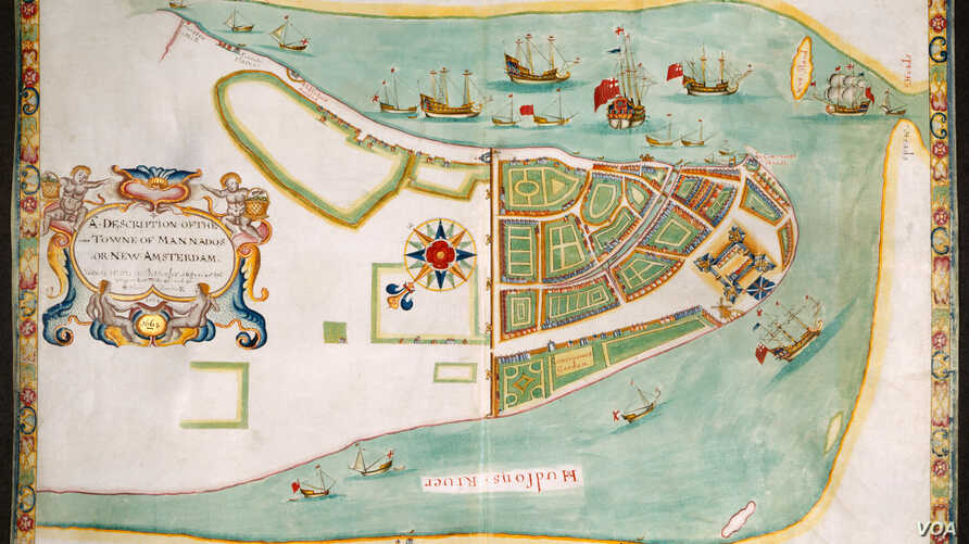 """This colorful 1664 map commemorates the English victory over the Dutch for control of New York and explains how places like Battery Park and Wall Street got their names. (From """"A History of America in 100 Maps""""/Courtesy of The British Library)"""