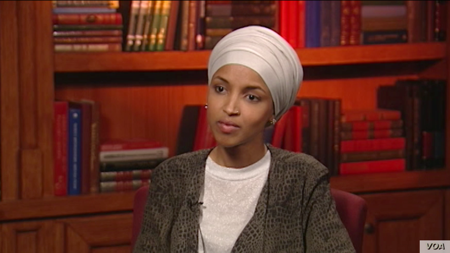 Ilhan Omar, America's first state legislator of Somali origin, is seen during an interview at VOA in Washington.