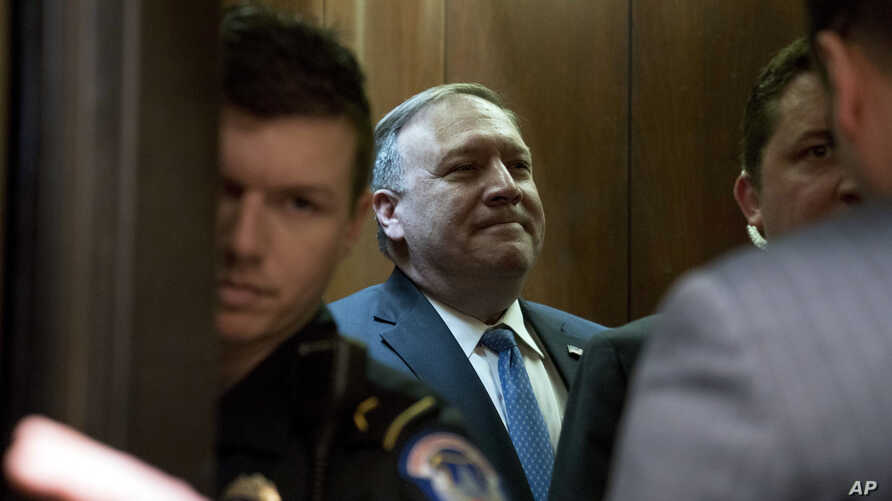 U.S. President Donald Trump's secretary of state nominee Mike Pompeo leaves a meeting on Capitol Hill in Washington, April 9, 2018.