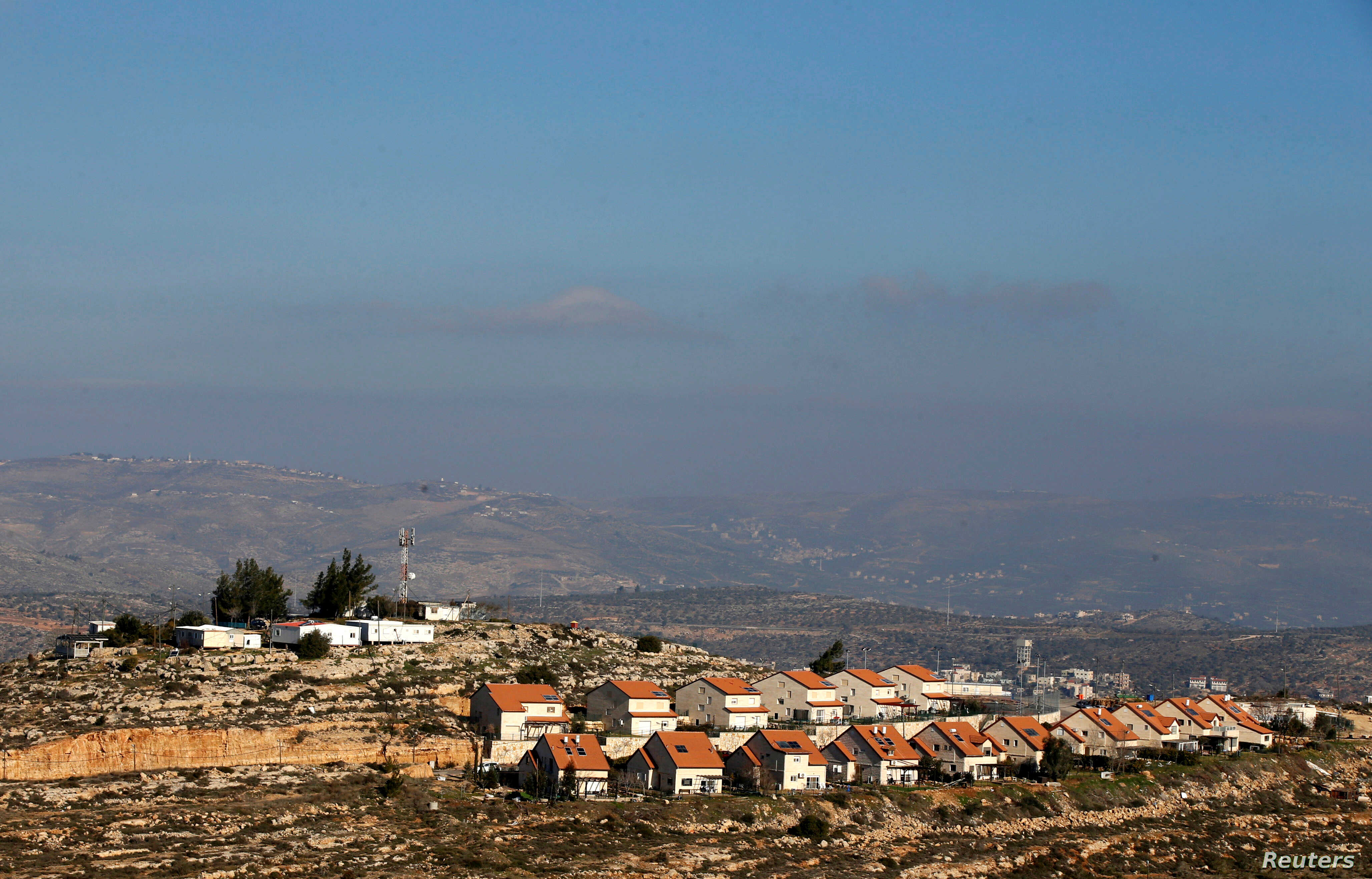 A picture shows homes near the Israeli outpost of Palgey Maim, in the occupied West Bank, Feb. 6, 2017.