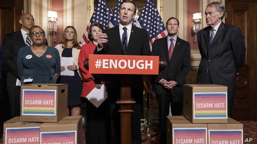 Sen. Chris Murphy, D-Conn., center, and other Democratic senators call for gun control legislation in the wake of the mass shooting in an Orlando LGBT nightclub this week, at the Capitol in Washington, June 16, 2016.