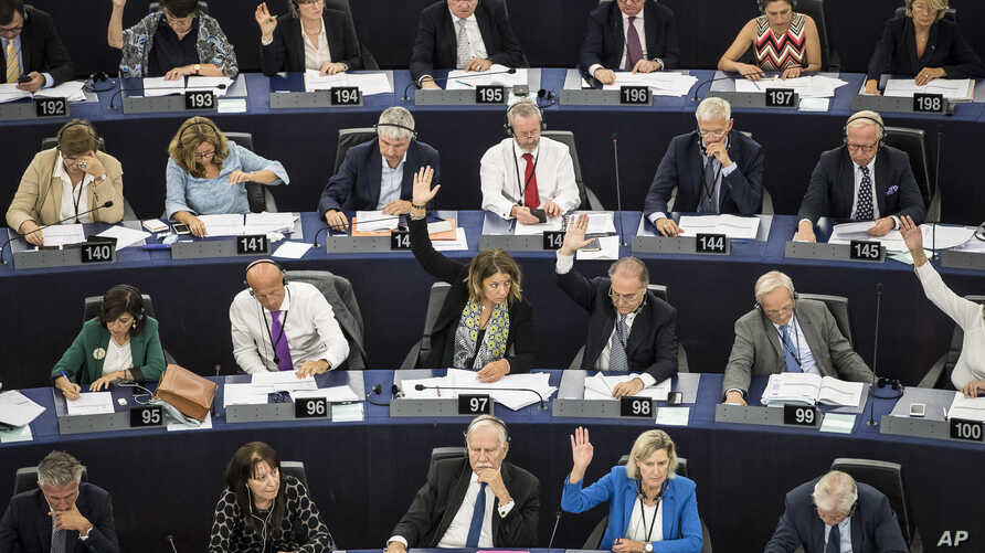 Members of the European Parliament take a vote in Strasbourg, France, Sept.12, 2018.