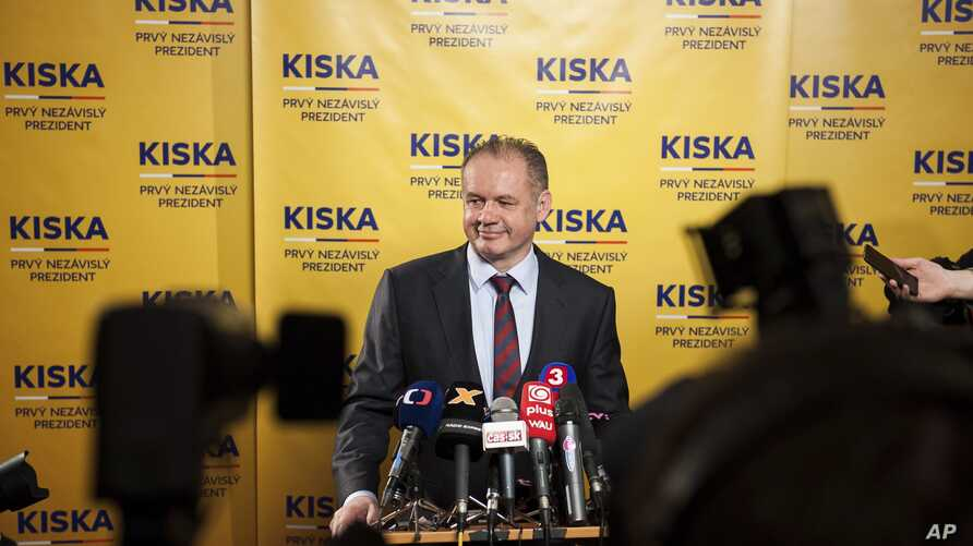 Candidate Andrej Kiska listens to a question during a press conference after the first round of Slovak presidential election in Bratislava, March 16, 2014.