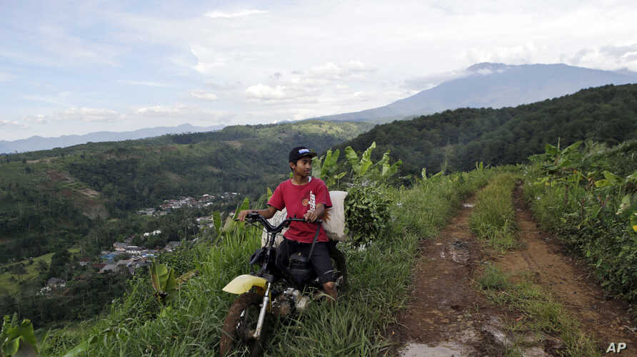 """In this March 8, 2017 photo, a farmer rides his motorbike on a dirt road as Gede Pangrango Mountains is seen in the background in Bogor, West java, Indonesia. A sprawling """"Trump Community"""" that will rise next to Gunung Gede Pangrango National Park ha"""