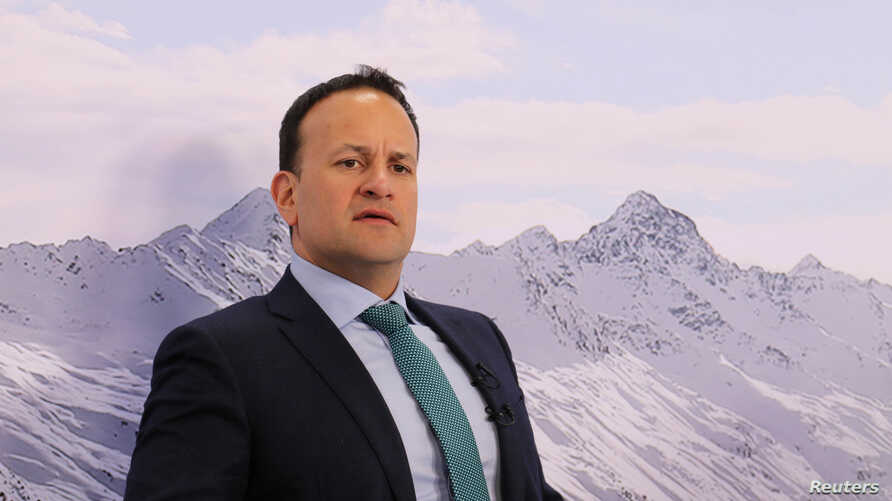 Irish politician Leo Varadkar reacts during an interview at the World Economic Forum in Davos, Switzerland, Jan. 24, 2019.
