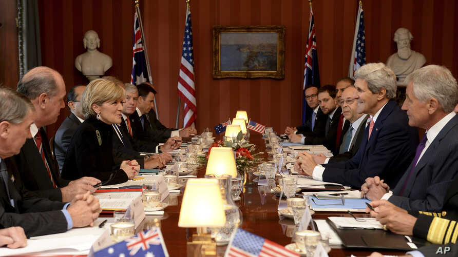 Australian Foreign Minister Julie Bishop, third from left, and Defense Minister David Johnston, second from left, meet with U.S. Secretary of State John Kerry, second from right, and U.S. Secretary of Defense Chuck Hagel, right, at the Australia-US M