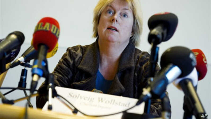 Sweden's chief prosecutor Solveig Vollstad speaks at a press conference at police headquarters in Malmo announcing the arrest, 7 November 2010