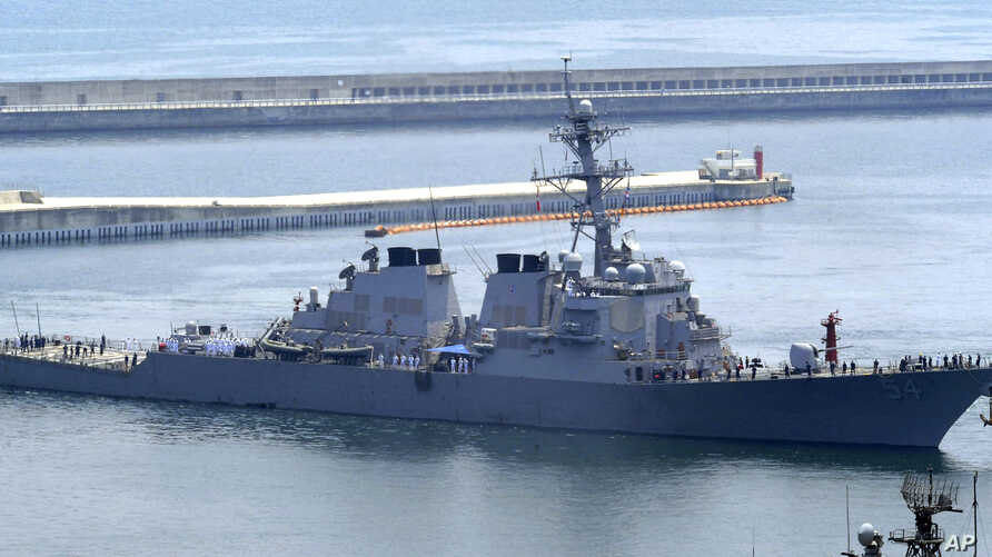 FILE - The USS Curtis Wilbur, a 8,950-ton Aegis destroyer of the U.S. Navy, arrives at a naval base in Busan, South Korea, June 4, 2010.