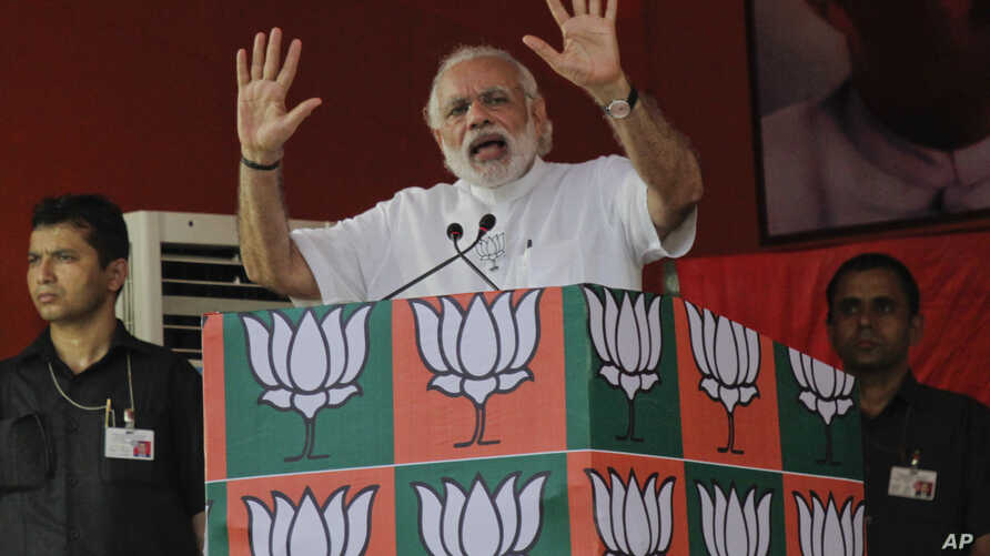 FILE - Indian Prime Minister Narendra Modi is seen speaking at an election rally of the ruling Bharatiya Janata Party (BJP), in Kolkata, India, April 17, 2016.