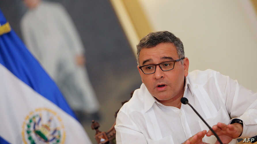 FILE - El Salvador's President Mauricio Funes speaks with foreign journalists during a meeting in San Salvador, El Salvador, Jan. 31, 2014.