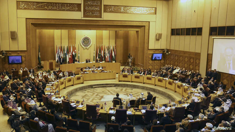 Foreign ministers of the Arab League take part in an emergency meeting at the group's headquarters in Cairo September 7, 2014.