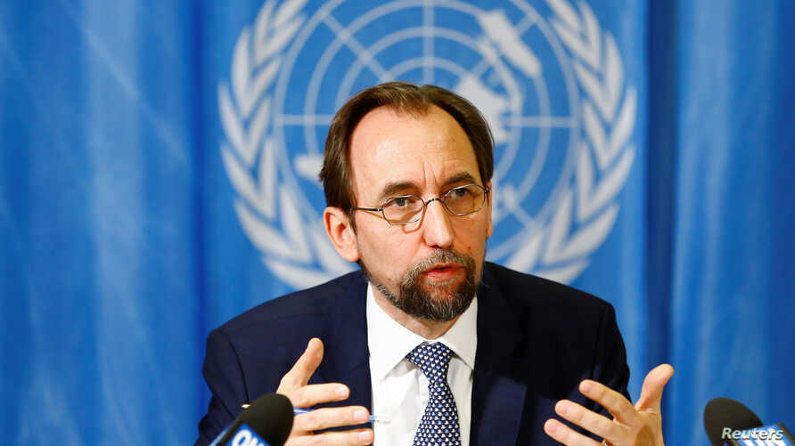 United Nations High Commissioner for Human Rights Zeid Ra'ad al-Hussein of Jordan speaks during a news conference at the United Nations European headquarters in Geneva, Switzerland, May 1, 2017.