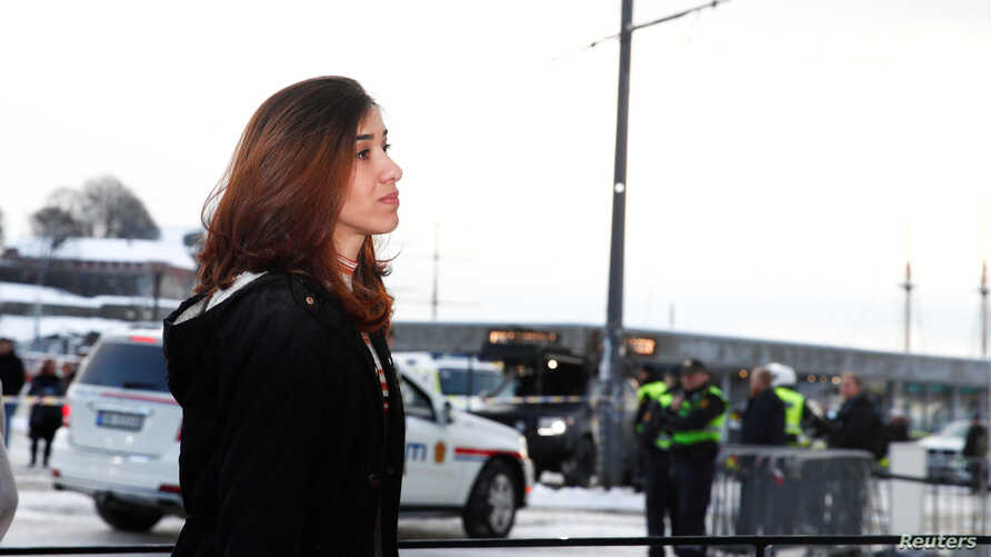 Nobel Peace Prize laureate Nadia Murad arrives at The Children's Peace Prize Party at Nobel Peace Center in Oslo, Norway, Dec. 10, 2018.