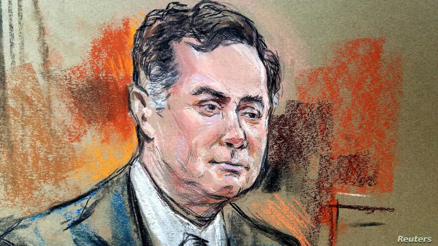 Former Trump campaign manager Paul Manafort is shown in a court room sketch on the fifth day of his trial on bank and tax fraud charges stemming from Special Counsel Robert Mueller's investigation into Russian meddling in the 2016 U.S. presidential e