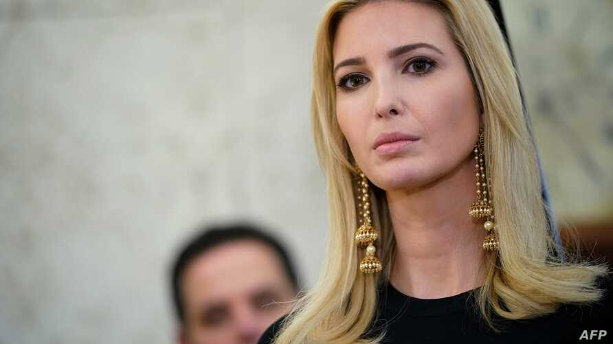 "Advisor to U.S. President Donald Trump, Ivanka Trump, is seen during a working session regarding ""opportunity zones"" following the recently signed tax bill in the Oval Office of the White House, Feb. 14, 2018 in Washington, DC."