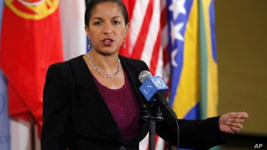 Susan Rice, US Ambassador to United Nations speaks to reporters at UN Headquarters after the Security Council met to discuss the situation in Sudan, November 11, 2011.