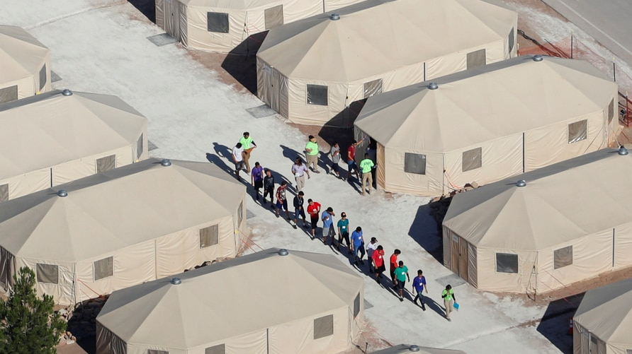 """Immigrant children, many of whom have been separated from their parents under a new """"zero tolerance"""" policy by the Trump administration, are being housed in tents next to the Mexican border in Tornillo, Texas, June 18, 2018."""