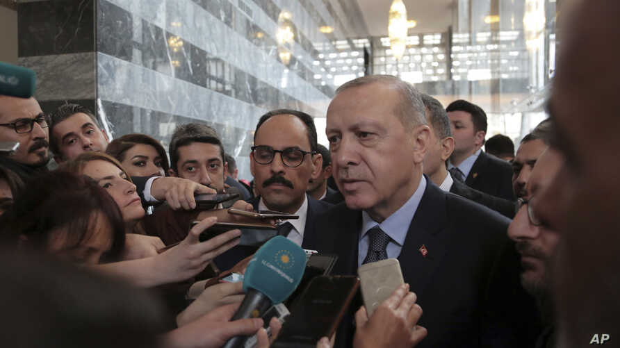 Turkey's President Recep Tayyip Erdogan speaks to the media in Ankara, Turkey, Jan. 8, 2019.