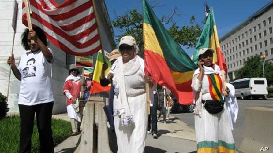 Protesters recently marched by the State Department demanding pressure for democratic change in Ethiopia