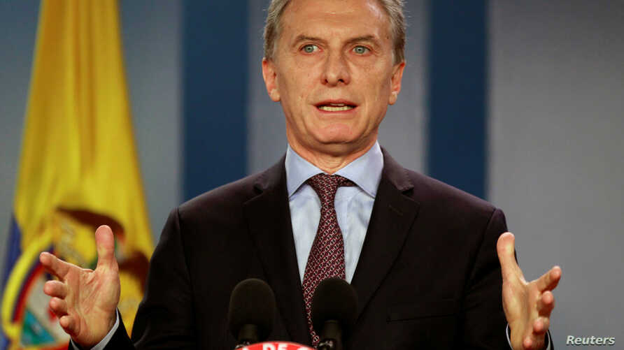 Argentina's President Mauricio Macri speaks during a news conference after the bilateral meeting at Narino Palace in Bogota, Colombia, June 15, 2016.