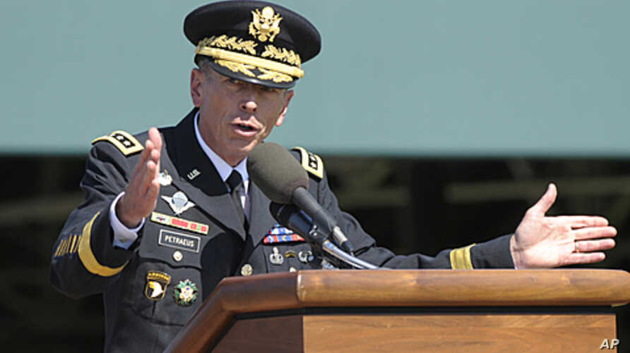 Former Commander of International Security Assistance Force and US Forces-Afghanistan General Davis Petraeus speaks during an armed forces farewell tribute and retirement ceremony at Joint Base Myer-Henderson Hall in Arlington, Virginia, August 31, 2