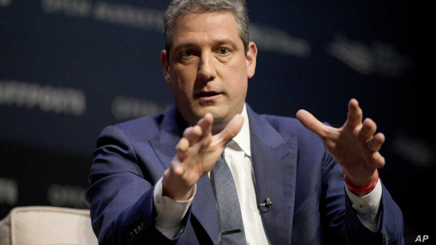 FILE - Rep. Tim Ryan, D-Ohio, speaks at the Heartland Forum on the campus of Buena Vista University in Storm Lake, Iowa, March 30, 2019.