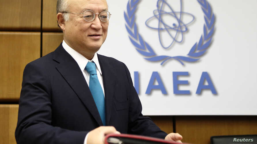 International Atomic Energy Agency (IAEA) Director General Yukiya Amano arrives for a board of governors meeting at the IAEA headquarters in Vienna, Nov. 20, 2014.