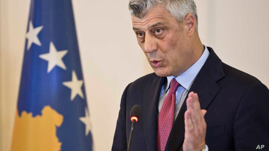 Kosovo president Hashim Thaci reacts during a press conference in capital Pristina, Kosovo, March 8, 2017.