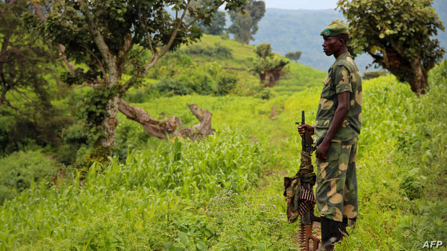 A soldier with M23 keeps watch on the valley below the hill of Kavumu in North Kivu, eastern Democratic Republic of the Congo, June 3, 2012.