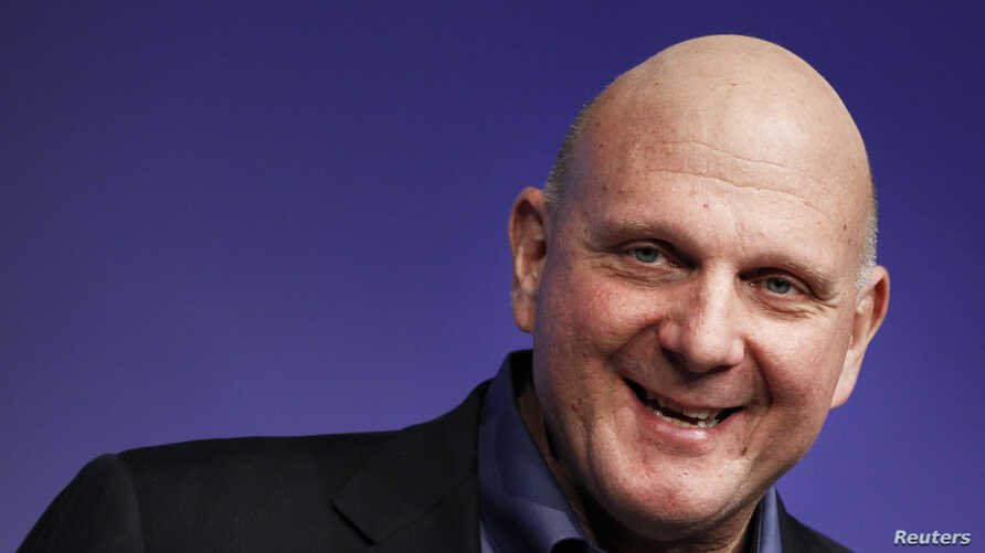 FILE - former Microsoft CEO Steve Ballmer speaks at the launch event of Windows 8 operating system in New York.