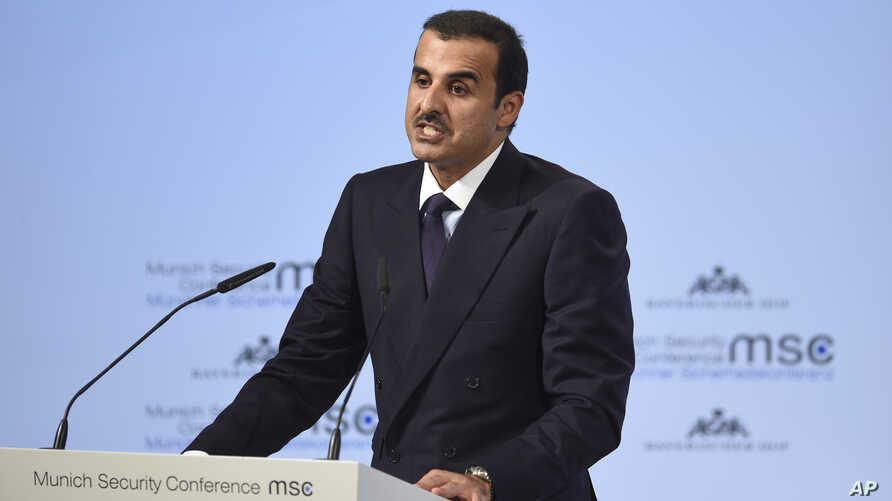 The Emir of Qatar, Sheikh Tamim bin Hamad Al Thani, delivers a speech at the International Security Conference in Munich, Germany, Friday, Feb. 16, 2018.
