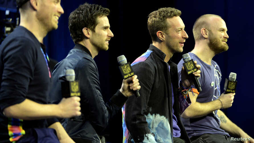 Coldplay singer Chris Martin speaks during the Super Bowl 50 Halftime Show press conference at Moscone Center, San Francisco, California, Feb. 4, 2016. (Credit: Michael Madrid-USA TODAY Sports)