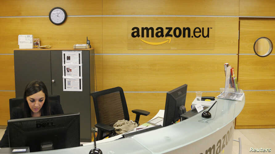 FILE - View of the reception of Amazon Europe Holding Technologies in Luxembourg in this picture taken on November 20, 2012.