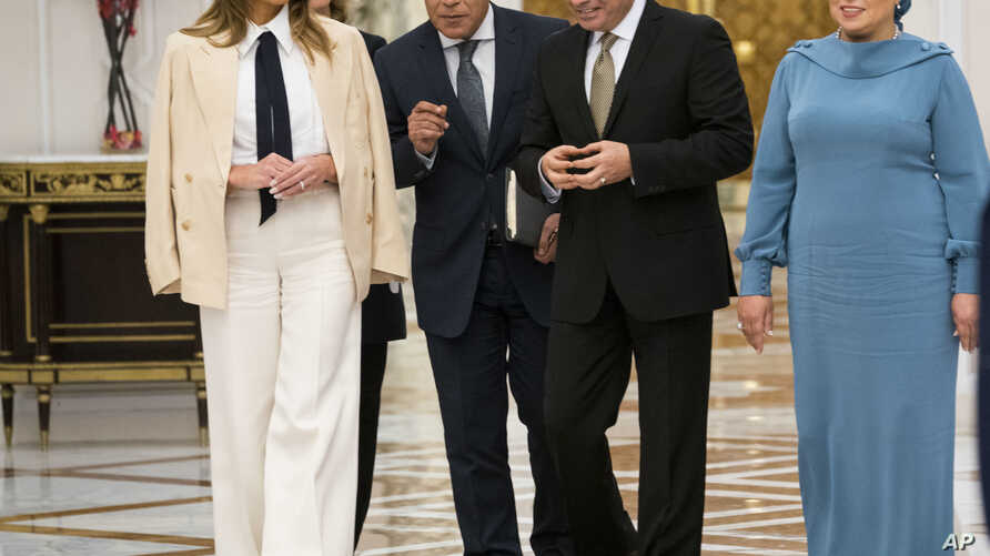 First Lady Melania Trump meets with Egypt's President Abdel-Fattah el-Sissi and his wife Entissar Mohameed Amer at the Presidential Palace in Cairo, Egypt, Oct 6, 2018.