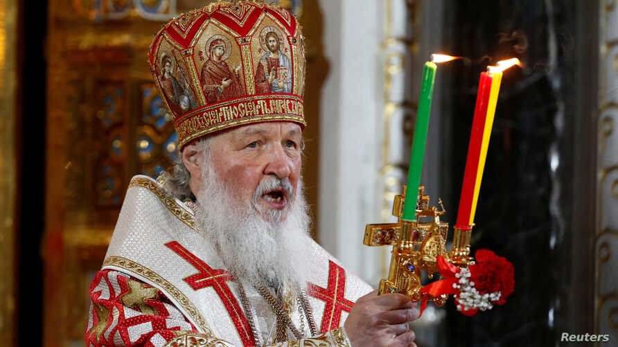 Patriarch of Moscow and All Russia Kirill conducts the Orthodox Easter service at the Christ the Saviour Cathedral in Moscow, Russia, May 1, 2016.