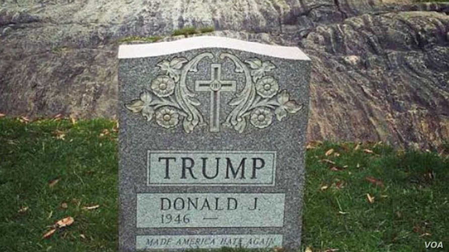 An image posted on social media depicts the Trump tombstone in New York's Central Park (Instagram by gothamist). Surreptitiously installed in March, it has since been removed by New York police.