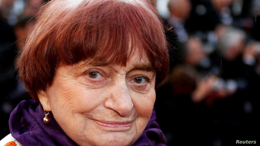 "FILE - Director Agnes Varda arrives at the 71st Cannes Film Festival for the screening of the film 'BlacKkKlansman,"" which is in competition, Cannes, France May 14, 2018."