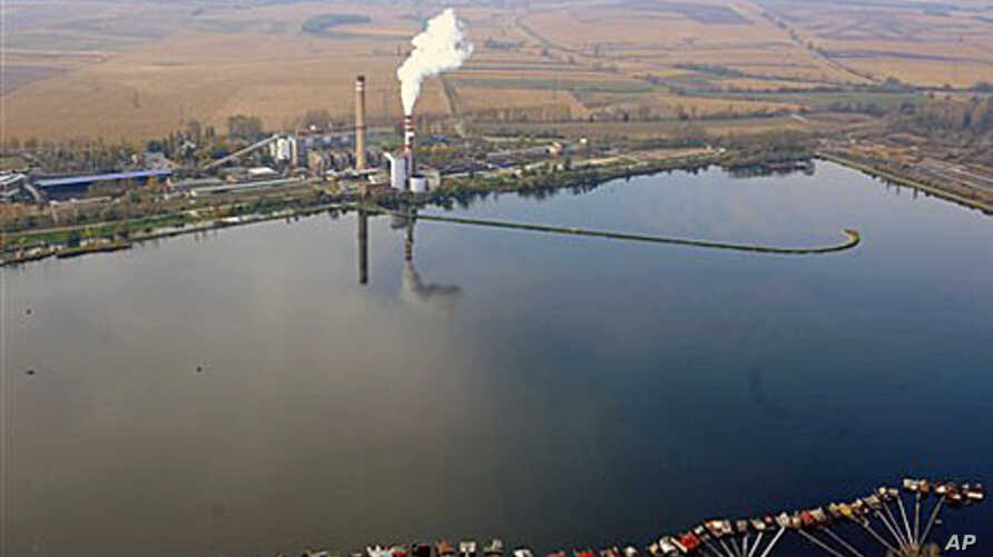 An aerial view of the reservoir storing chemical waste of Bokod thermal power station, 87 kms northwest of Budapest, Hungary, as an aerial surveillance of reservoirs throughout Hungary is performed in the aftermath of the toxic red mud flood disaster