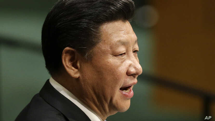 China's President Xi Jinping speaks during the 70th session of the United Nations General Assembly at its New York headquarters, Sept. 28, 2015.